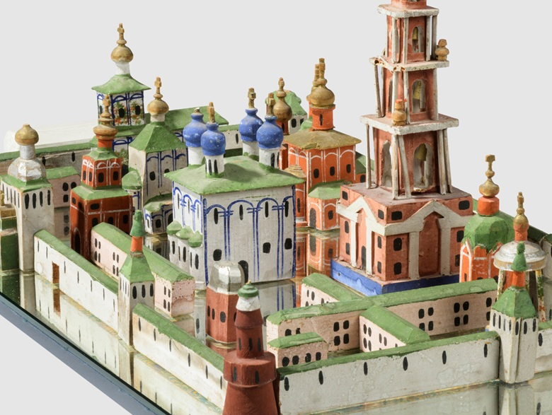 A Russian painted pine model of the Trinity Monastry of St. Sergius, c. 1900. Estimate £2,000-3,000. Offered in Alexandra Tolstoy An Interior by Sibyl Colefax & John Fowler, 4-25 November, Online