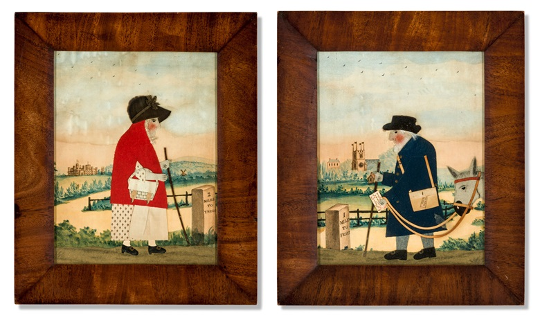 George Smart, A pair of Regency cut-felt collage pictures of The Goose Woman and 'Old Bright' The Postman of Frant, c. 1820. Estimate £3,000-5,000. Offered in Alexandra Tolstoy An Interior by Sibyl Colefax & John Fowler, 4-25 November, Online
