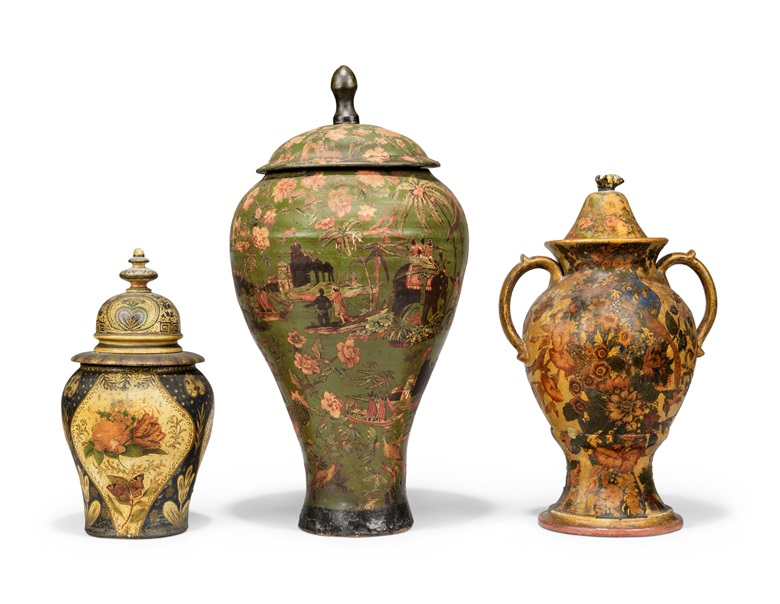 Three North European decorated and painted lidded jars, mid-19th century. The largest 31 in (79 cm) high. The smaller two 19 in (48 cm) and 24 in (61 cm) high. Estimate £1,000-2,000. Offered in Alexandra Tolstoy An Interior by Sibyl Colefax & John Fowler, 4-25 November, Online
