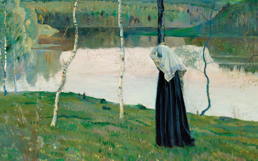 Mikhail Nesterov (1862-1942), Sacred Lake (detail). Oil on canvas, 27½ x 38 in (69.8 x 96.5 cm). Estimate £200,000-300,000. Offered in Russian Art on 23 November 2020 at