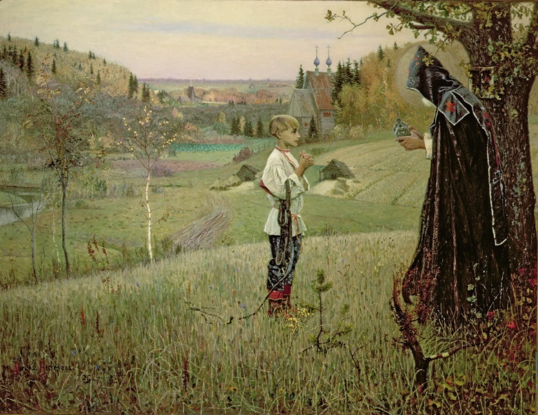 Mikhail Vasilyevich Nesterov, The Vision to the Youth Bartholomew, 1889-90. Oil on canvas. 161 x 214 cm. Tretyakov Gallery, Moscow, Russia. Photo Bridgeman Images