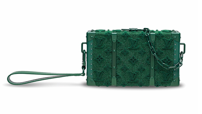 A limited-edition green Tuffetage monogram wallet trunk with green hardware by Virgil Abloh, Louis Vuitton, 2020. 23 w x 13.5 h x 6 d cm. Estimate HK$45,000-60,000. Offered in Handbags & Accessories on 27 November 2020 at Christie's in Hong Kong