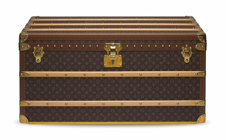 A custom monogram Malle Courrier Lozine 100 trunk with capucine lining and brass hardware, Louis Vuitton, 2010s. 100 w x 48 h x 53 d cm. Estimate HK$80,000-100,000. Offered in Handbags & Accessories on 27 November 2020 at Christie's in Hong Kong