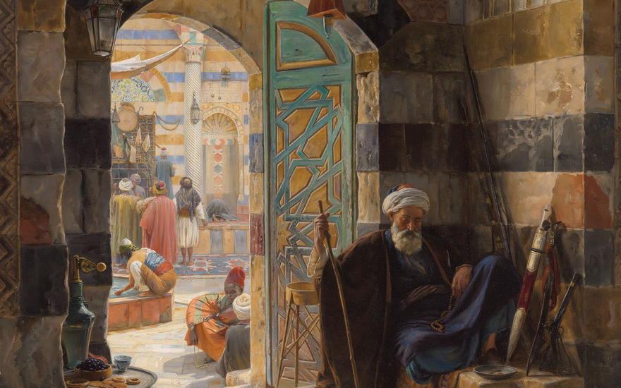 Gustav Bauernfeind (1848-1904), detail of Warden of the Mosque, Damascus, 1891. 43 x 33  in (109.2 x 83.8  cm). Estimate £1,500,000-2,500,000. Offered in Orientalist Art on 18 November 2020 at