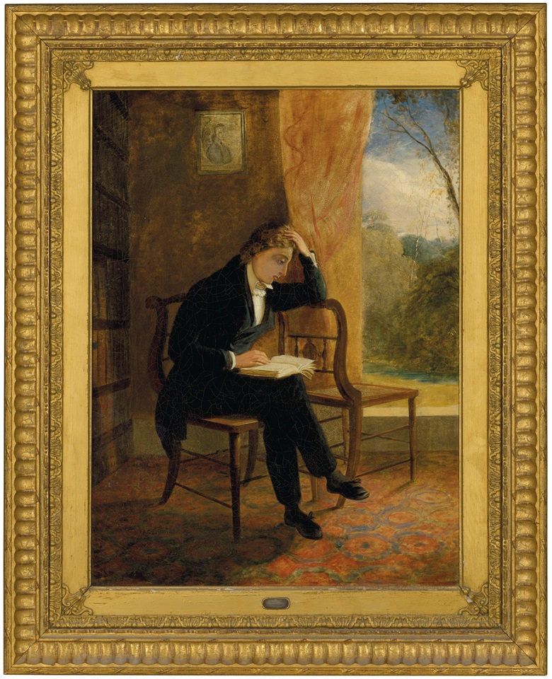 Joseph Severn, Portrait of John Keats at Wentworth Place on the day of his composing 'Ode to a Nightingale', 1834. Oil on canvas. 23½ x 17½ in (59.7 x 44.5 cm). The frame contains a lock of Keats's hair in a small window. Estimate £50,000-80,000. Offered in Valuable Books and Manuscripts on 9 December at Christie's in London