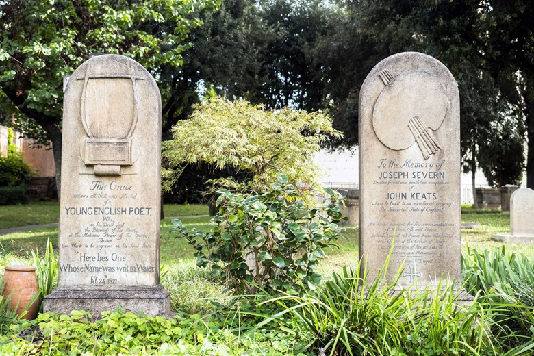 The gravestones of John Keats and Joseph Severn, side-by-side in the Non-Catholic Cemetery in Rome. Photo Stefano Rivera  Alamy Stock Photo