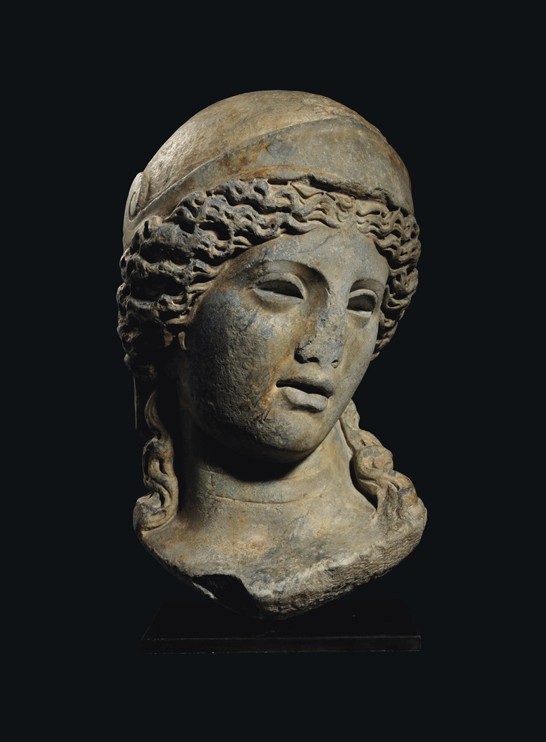 A monumental Roman grey marble head of Minerva, circa late 2nd century AD. 25½ in (65 cm) high. Estimate £500,000-800,000. Offered in Antiquities on 16 December 2020 at Christie's in London