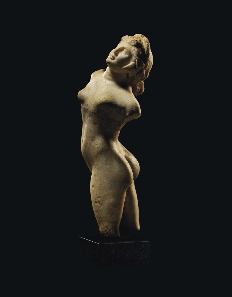 A Greek marble figure of a dancing Maenad, Roman period, circa 1st century BCAD. 22¼ in (56.5 cm) high. Estimate £50,000-70,000. Offered in Antiquities on 16 December 2020 at Christie's in London