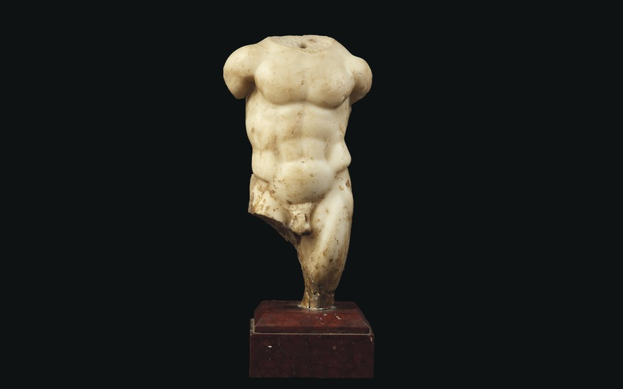 A Roman marble torso of Hercules, circa 1st-2nd century AD. 9¼ in (23.5 cm) high. Estimate £15,000-20,000. Offered in Antiquities on 16 December 2020 at Christie's in London
