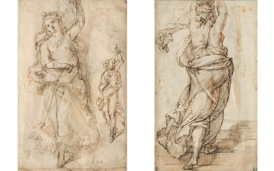 Left (detail of) Taddeo Zuccaro (1529-1566), Two studies of Diana with her hounds (recto). Black chalk, pen and brown ink, brown wash. Estimate £150,000-250,000; Right Bartolomeo Passarotti