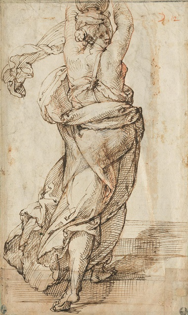 Bartolomeo Passarotti (1529-1592), A partially draped woman holding a vessel on her head (verso). Red chalk, pen and brown ink (verso). 12⅞ x 7½ in (32.6 x 19 cm). Estimate £150,000-250,000. Offered in Italian Drawings from the Robert Landolt Collection on 8 December 2020 at Christie's in London