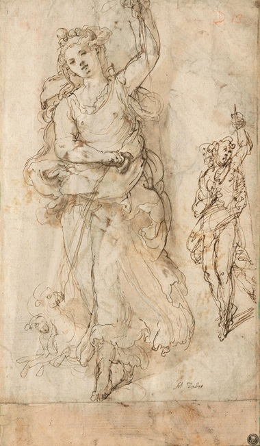 Taddeo Zuccaro (1529-1566), Two studies of Diana with her hounds (recto). Black chalk, pen and brown ink, brown wash (recto). Estimate £150,000-250,000. Offered in Italian Drawings from the Robert Landolt Collection on 8 December 2020 at Christie's in London