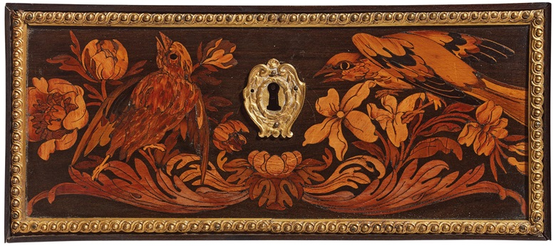 Detail of the marquetry on one of the 14 drawers