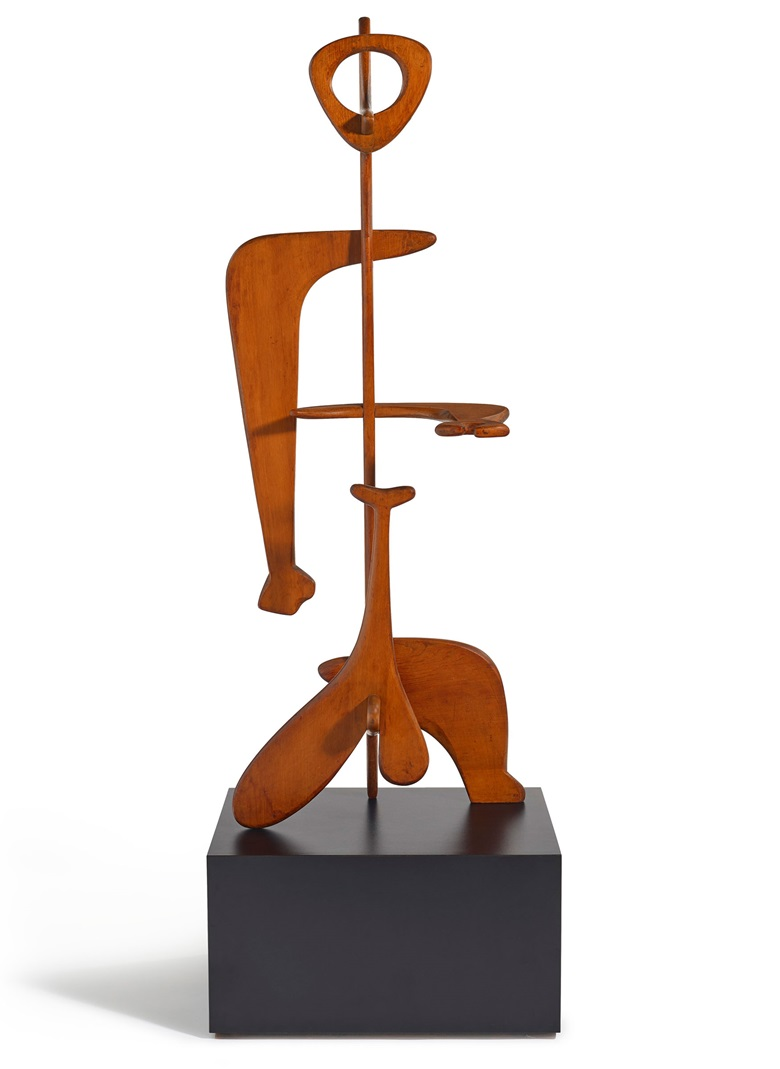 Isamu Noguchi (1904-1988), Man, 1945. Wood. 52⅛ x 20¼ x 13 in (132.4 x 51.4 x 33 cm). Estimate $3,000,000-5,000,000. Offered in 20th Century Hong Kong to New York