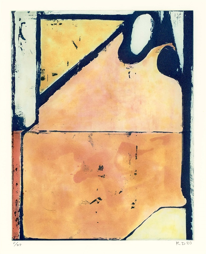 Richard Diebenkorn (1922-1993), Blue Loop, 1980. Spitbite colour etching aquatint on Rives paper. Image 15 x 11¾ in (38 x 30 cm),  sheet 31⅞ x 25⅛ in (81 x 63.7 cm). This work is number six from an edition of 35 plus 10 artists proofs and five trial proofs. Estimate $20,000-30,000. Offered in First Open  Online, 1-15 December 2020, Online