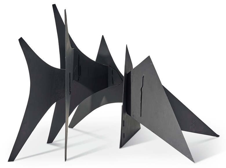 Alexander Calder (1898-1976), Triangles and Arches (Maquette), 1965. Sheet metal and paint, incised with the artists monogram CA (on a side edge). 20 x 30¾ x 21 in (50.8 x 78.1 x 53.3 cm). Estimate $500,000-700,000. Offered in Post-War & Contemporary Art Day Sale, Featuring The Collection of Morton and Barbara Mandel