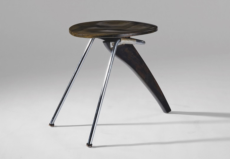 Isamu Noguchi (1904-1988), 'Rudder' Stool, model no. IN-22, c. 1950. Lacquered birch, steel, laminate. Estimate $15,000-20,000. Offered in Design on 11 December at Christie's in New York