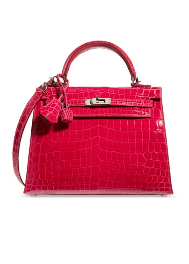A shiny fuchsia niloticus crocodile sellier Kelly 25 with palladium hardware, Hermès, 2005, from the collection of Susan Casden. 25 w x 18 h x 9 d cm. Sold for $56,250 in Handbags & Accessories Online The New York Edition, 24 November-10 December 2020, Online
