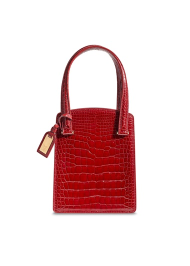 A shiny burgundy crocodile Ondine bag with gold hardware, Louis Vuitton, 1999, from the collection of Susan Casden. 16 w x 19 h x 8 d cm. Offered in Handbags & Accessories Online The New York Edition, 24 November-10 December 2020, Online