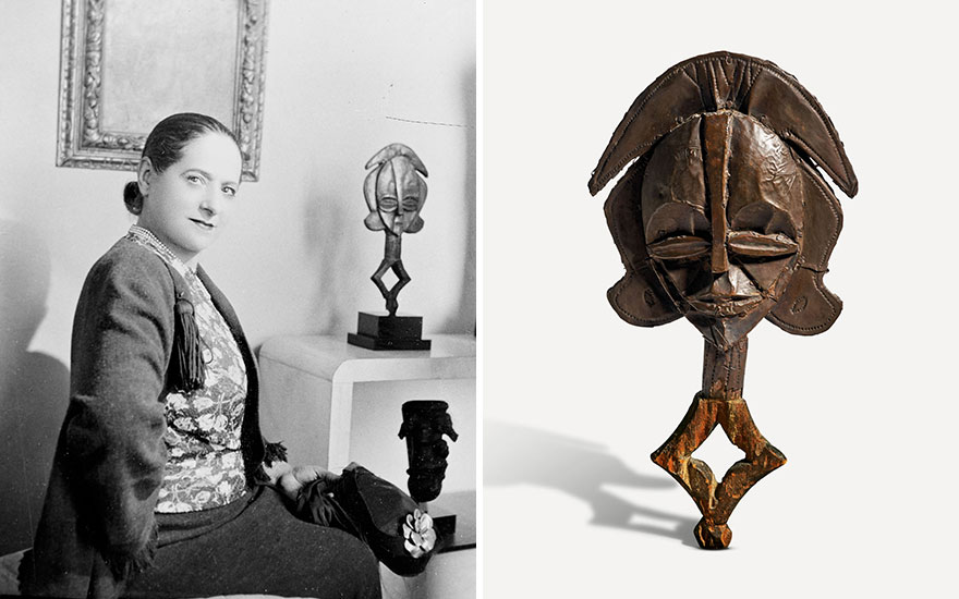 Helena Rubinstein with African art from her collection, including a Kota-Obamba reliquary figure, in her Paris residence on Boulevard Raspail, early 1930s. Photo Lipnitzki  Roger-Viollet  Topfoto
