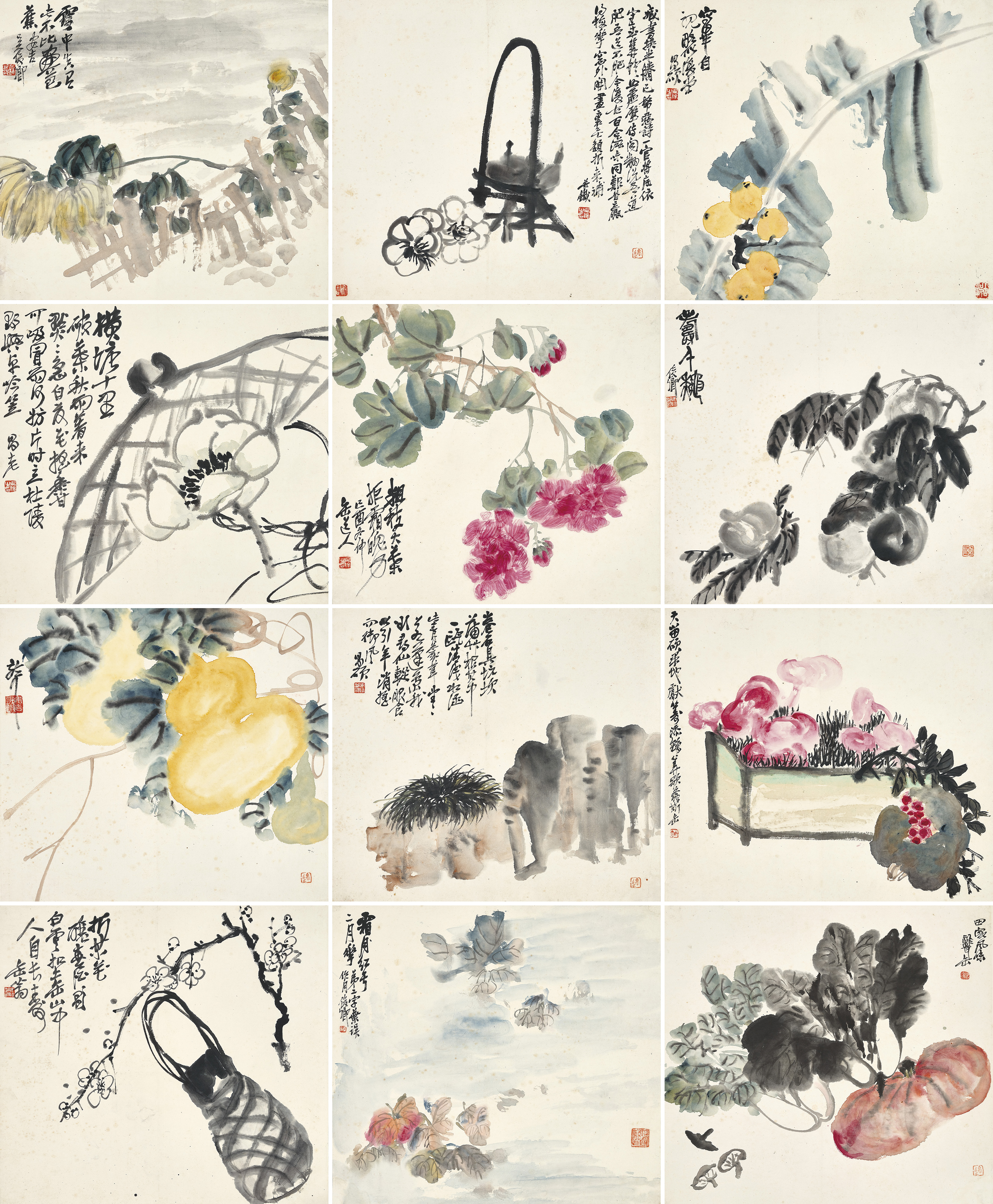 Property from a private Hong Kong collection. Wu Changshuo (1844-1927), Album of Flowers, Vegetables and Objects, 1909. Album of twelve leaves, ink and colour on paper. Each leaf measures 37.3 x 40.3 cm. (14 ⅝ x 15 ⅞ in.). Estimate HK$1,200,000 - 2,000,000. Offered in Fine Chinese Modern and Contemporary Ink Paintings on 1 December at Christie's in Hong Kong