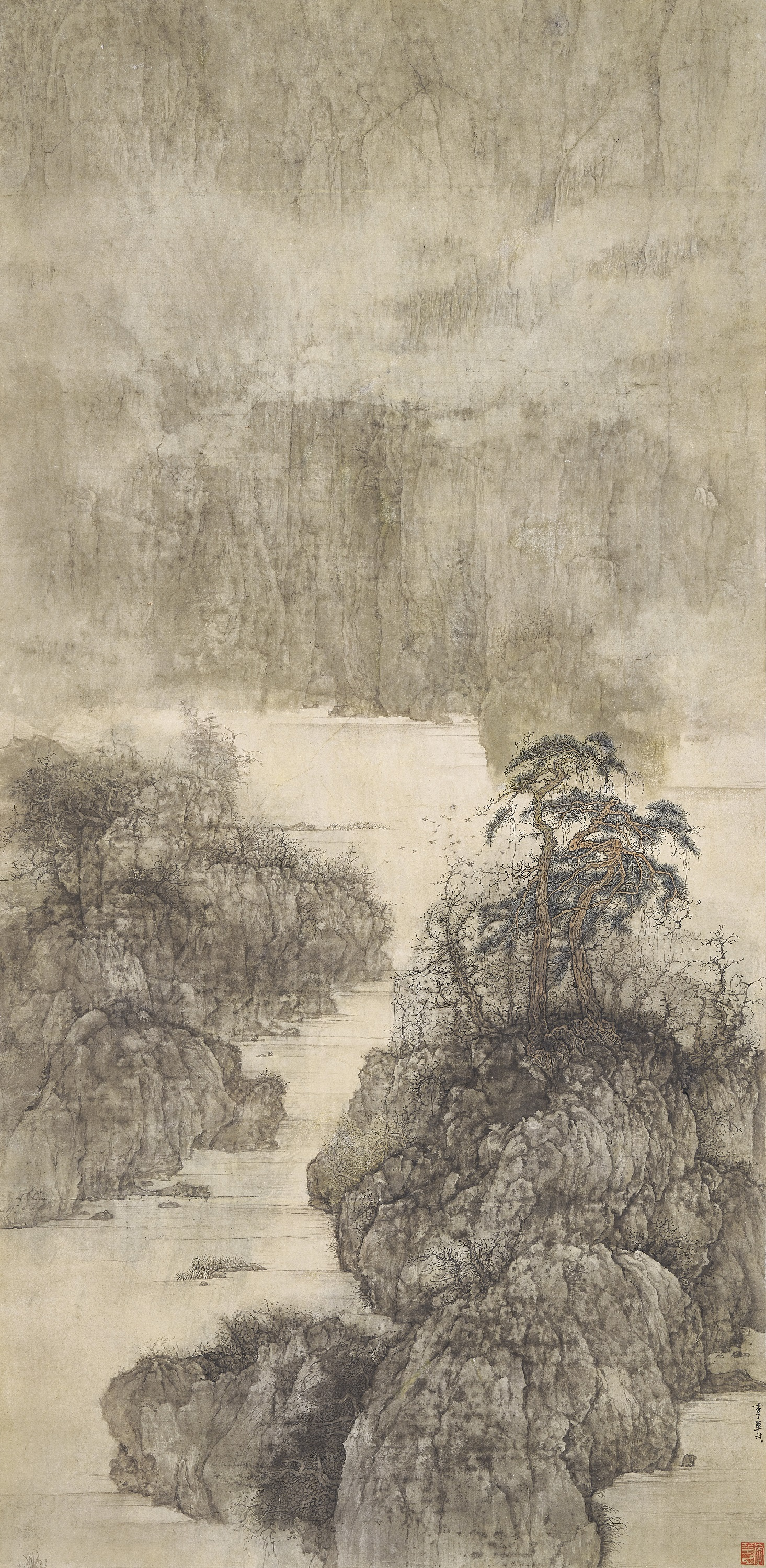 From an important Hong Kong private collection. Li Huayi (B. 1948), Landscape (No. 9). Scroll, mounted and framed, ink and colour on paper. 132.5 × 64.5 cm. (52 ⅛ x 25 ⅜ in.). Estimate HK$1,500,000 - 2,000,000. Offered in Fine Chinese Modern and Contemporary Ink Paintings on 1 December at Christie's in Hong Kong.