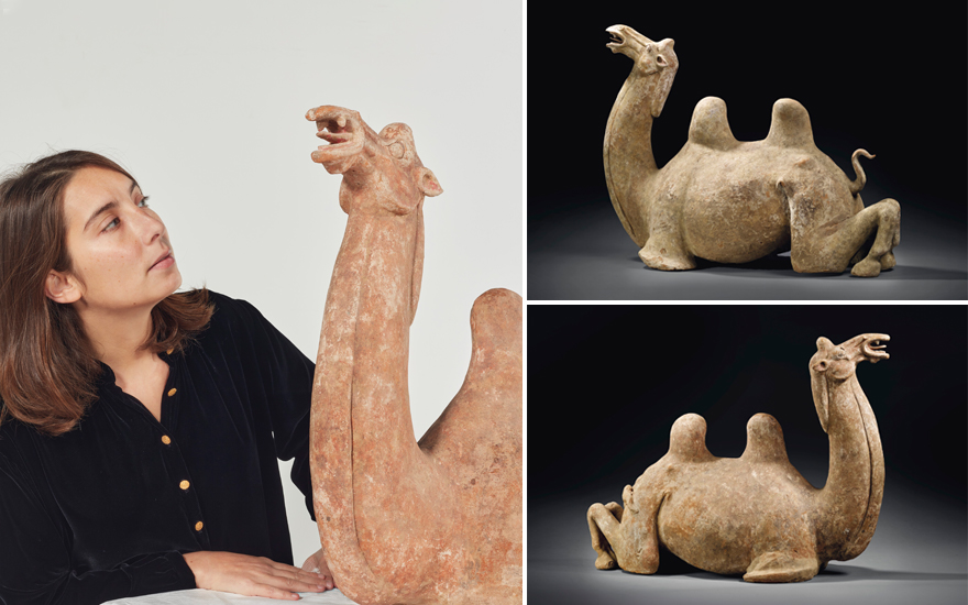 A pair of large Tang dynasty terracotta camel mingqi — or 'vessels for ghosts'