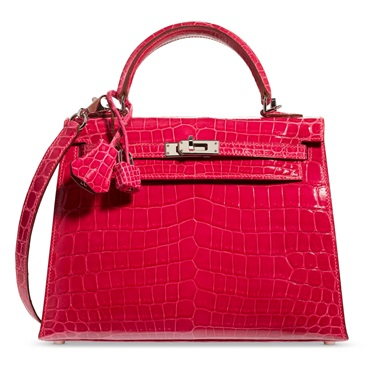 A shiny fuchsia niloticus crocodile sellier Kelly 25 with palladium hardware, Hermès, 2005, from the collection of Susan Casden. Sold for $56,250, 10 Dec 2020, Online