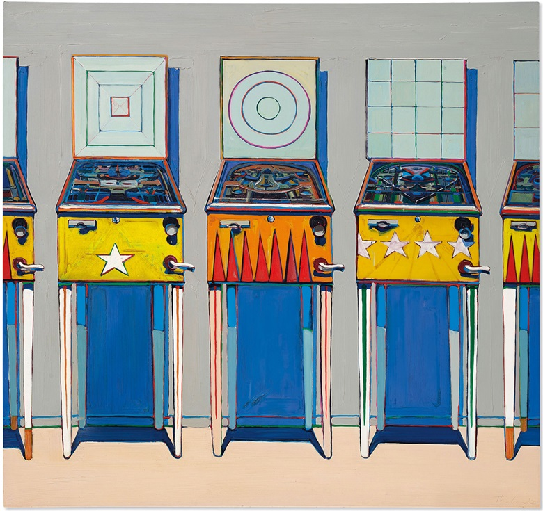 Wayne Thiebaud (b. 1920), Four Pinball Machines, 1962. Sold for $19,135,000 on 10 July 2020 at Christie's in New York. Artwork © Wayne ThiebaudVAGA at ARS, NY and DACS, London 2020