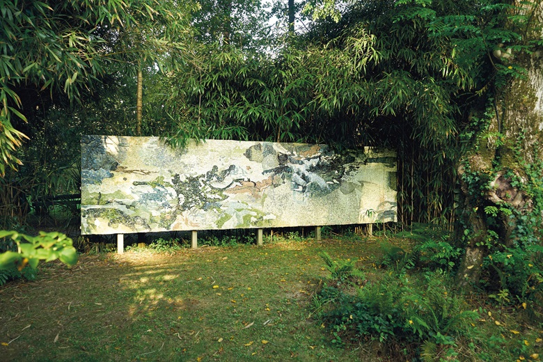 Zao Wou-Ki (1920-2013) and Dominique Hideux, Sans titre, 1984. Ceramic on concrete wall. 74⅘ x 298¼ in (192 x 760 cm). Sold for €1,400,000 at Christie's in Paris. Artwork © DACS 2020
