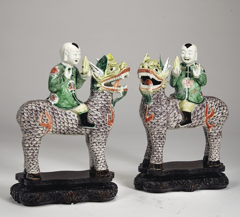 A large and rare pair of famille verte boys riding qilin, Kangxi period (1662-1722). 11 in (28 cm) high. Estimate $25,000-40,000. Offered in Chinese Export Art Featuring Property from the Tibor Collection, 7-20 January, Online