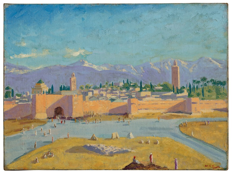 Sir Winston Churchill, Tower of the Koutoubia Mosque, 1943. Oil on canvas. 18 x 24 in (45.7 x 61 cm). Estimate £1,500,000-2,500,000. Offered in the Modern British Art Evening Sale on 1 March 2021 at Christie's in London