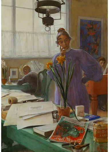 Carl Larsson, My Wife (Karin in the studio), 1912. Pencil, watercolour and bodycolour. 73.5 x 51.7 cm. Photo Scala, Florence