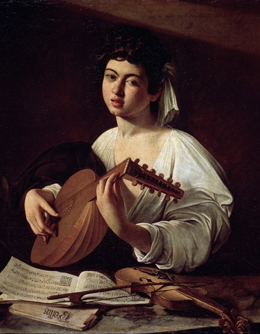 Caravaggio, Lute Player, 1595-1596 (detail). Oil on canvas. 94 x 119 cm. State Hermitage Museum, St Petersburg. Photo © Fine Art Images  Bridgeman Images