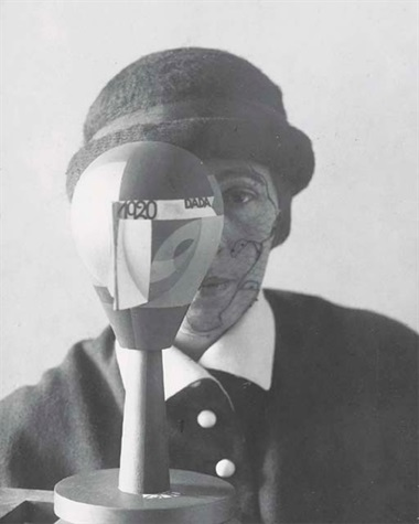 Nic Aluf, Sophie Taeuber Arp behind Dada head, 1920. Gelatin silver print. 5⅞ x 4½in (15 x 11.5cm). Sold for £11,353 on 21 May 2003 at Christies in London