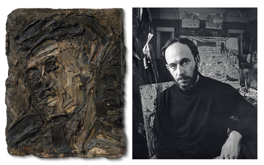 Left  Leon Kossoff, Head of Frank Auerbach, 1956. Oil on board. 7½ x 6 in (19 x 15.3 cm). Estimate £100,000-150,000. Offered in the Modern British Art Evening Sale on 1 March 2021 at