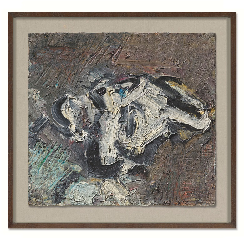 Frank Auerbach (b. 1931), Reclining Head of Gerda Boehm, 1980-81. Oil on board. 18 x 19½ in (45.7 x 49.5 cm). Estimate £600,000-800,000. Offered in 20th Century Art on 23 March 2021 at Christie's in London