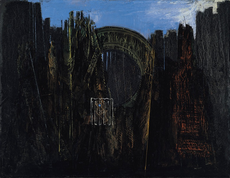 Max Ernst (1891-1976), Cage, forêt et soleil noir, 1927. Oil and grattage on canvas. 45 x 57½ in (114.4 x 146.3 cm). Estimate £2,000,000-3,000,000. Offered in The Art of the Surreal on 23 March 2021 at Christie's in London