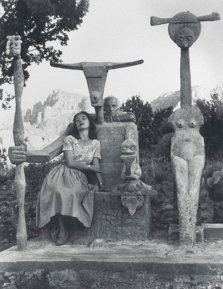 Max Ernst and Dorothea Tanning in 1947 with his sculpture, Capricorn. Photograph by John Kasnetsis. © John Kasnetsis. Artwork © Max Ernst, DACS 2021