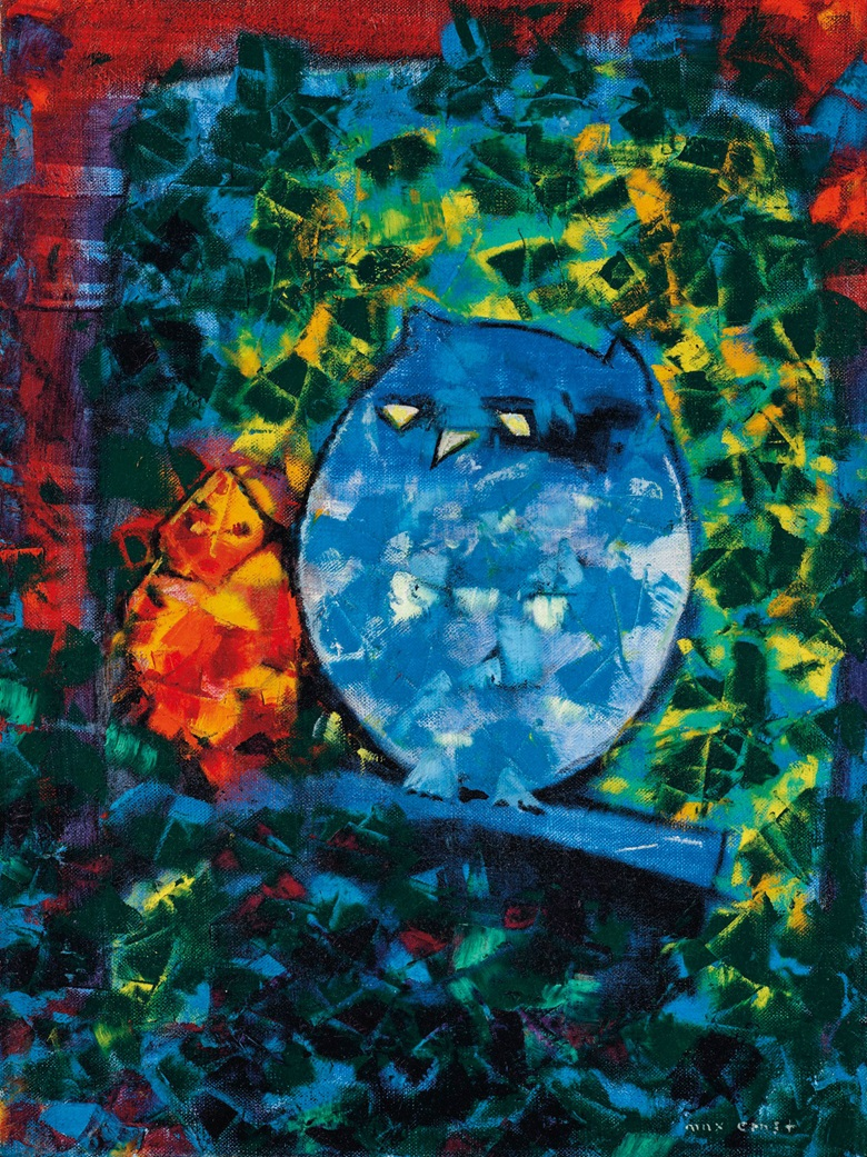 Max Ernst (1891-1976), Le hibou et sa fille, 1957. Oil on canvas. 16 x 12⅛ in (40.9 x 30.7 cm). Estimate £90,000-150,000. Offered in The Art of the Surreal on 23 March 2021 at Christie's in London