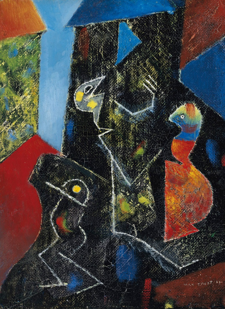Max Ernst (1891-1976), Oiseaux, 1955. Oil on board. 13½ x 9⅞ in (34.2 x 25.2 cm). Estimate £40,000-60,000. Offered in the Impressionist and Modern Art Day and Works on Paper Sale on 24 March 2021 at Christie's in London
