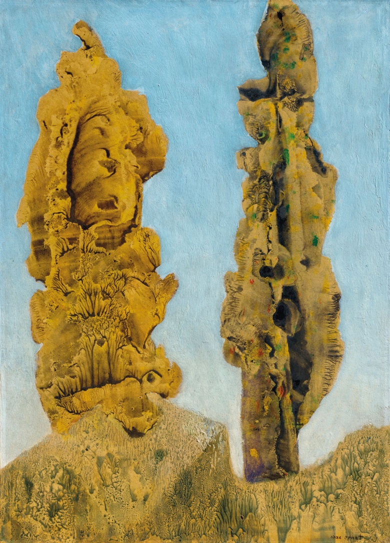 Max Ernst (1891-1976), Les peupliers, 1939. Oil with decalcomania on paper laid down on panel. 15¼ x 11 in (38.8 x 28 cm). Estimate £450,000-650,000. Offered in The Art of the Surreal on 23 March 2021 at Christie's in London