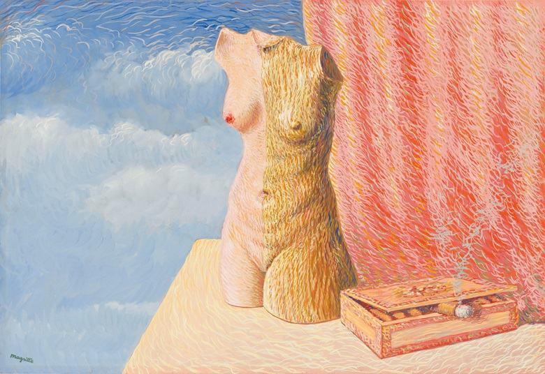 René Magritte (1898-1967), La Grande Marée, 1946. Gouache on paper. 16⅛ x 23⅜ in (41 x 59.4 cm). Estimate £650,000-950,000. Offered in The Art of the Surreal on 23 March 2021 at Christie's in London