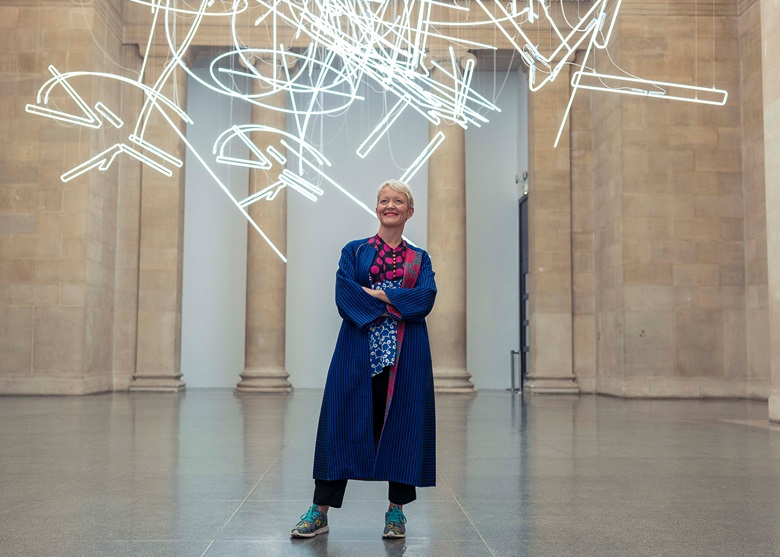 Maria Balshaw at Tate Britain with Cerith Wyn Evans, Forms in Space… by Light (in Time), the 2017 Tate Britain Commission. Photo Tom Jamieson  New York Times  eyevine. Artwork © Cerith Wyn Evans