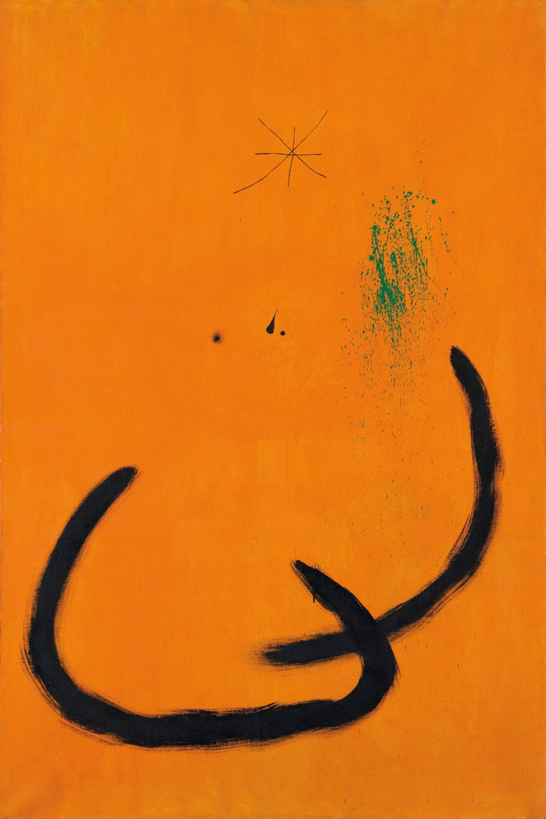 Joan Miró (1893-1983), Goutte deau sur la neige rose, 1968. Oil on canvas. 76⅞ x 51¼ in (195.1 x 130.2 cm). Estimate £3,000,000-5,000,000. Offered in The Art of the Surreal on 23 March at Christie's in London