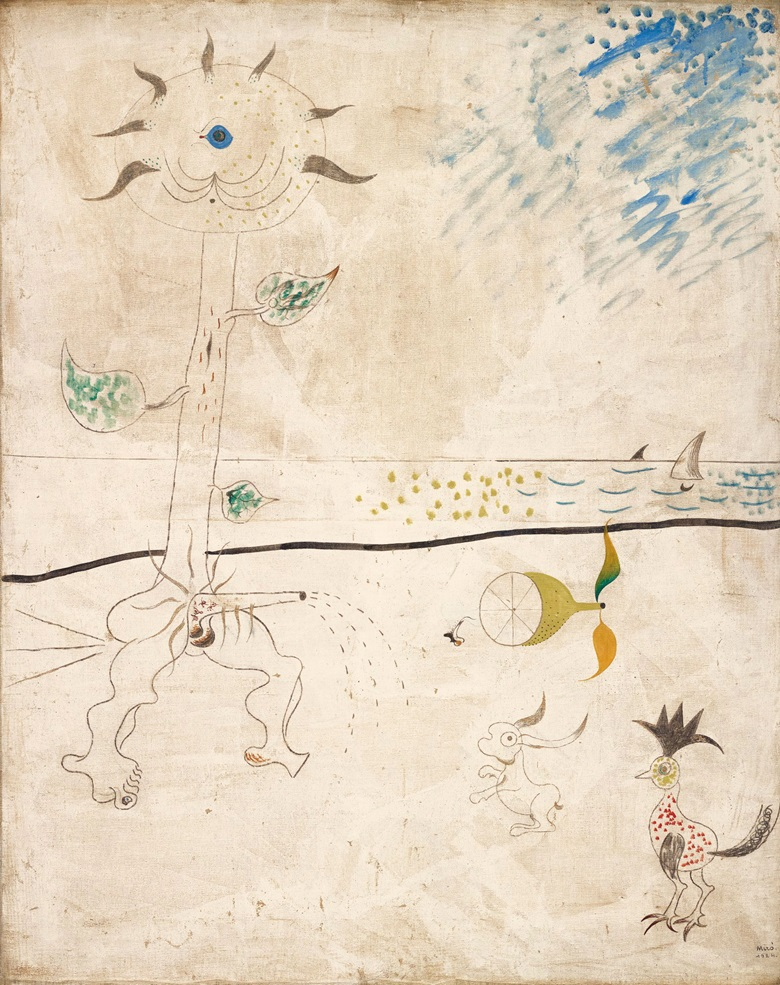 Joan Miró (1893-1983), Le piège  1924. Oil, charcoal and graphite on canvas. 36⅜ x 29 in (92.4 x 73.5 cm). Estimate £3,000,000-5,000,000. Offered in The Art of the Surreal on 23 March at Christie's in London