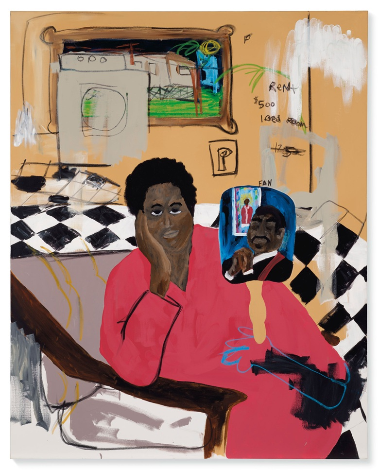 Jammie Holmes (b. 1984), Untitled (aunt), 2020. Acrylic and oil pastels on canvas. 59⅞ x 47⅞ in (152 x 121.5 cm). Estimate £35,000-55,000. Offered in Post-War and Contemporary Art Day Sale on 25 March 2021 at Christies in London