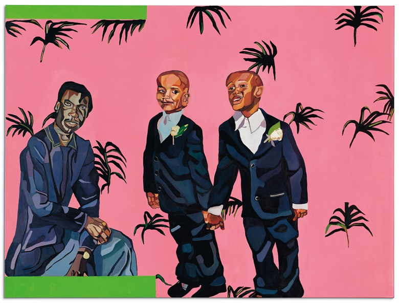 Joy Labinjo (b. 1994), No Wahala, 2019. Oil on canvas. 78⅞ x 59⅛ in (200.3 x 150.2 cm). Estimate £30,000-40,000. Offered in 20th Century Evening Sale on 23 March 2021 at Christies in London