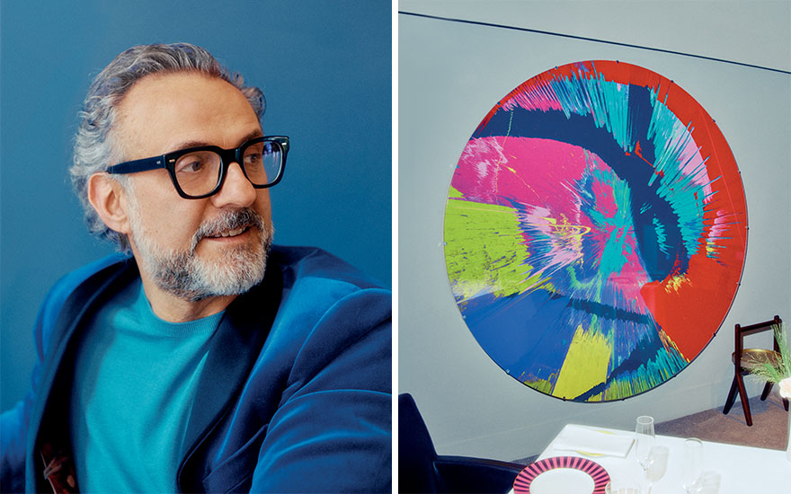 Left Massimo Bottura. Photograph by Thomas Chéné. Right Osteria Francescana. Photograph by Thomas Chéné. Artwork Damien Hirst, Beautiful Sonic Disco of Love and Hate at the