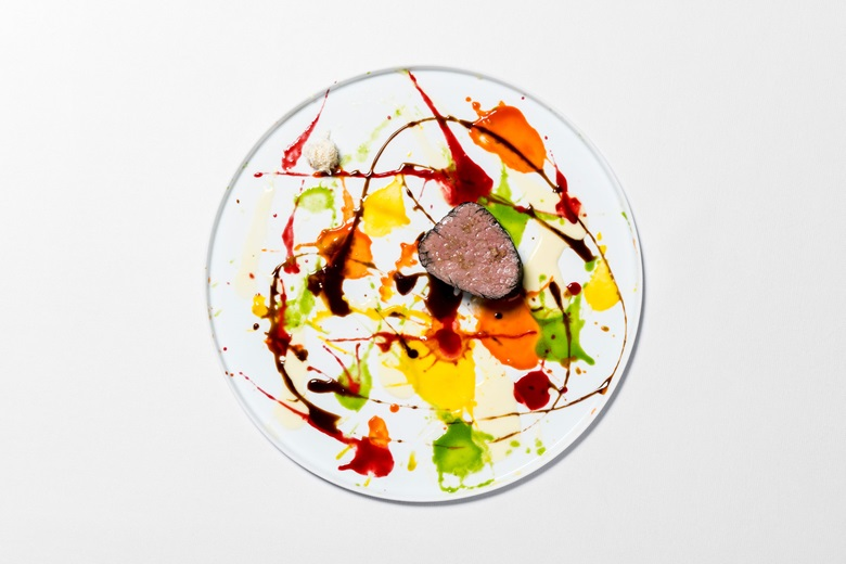 Massimo Bottura's Damien Hirst-inspired dish, 'Beautiful, psychedelic spin-painted veal, not flame-grilled'. Photo Courtesy of Osteria Francescana